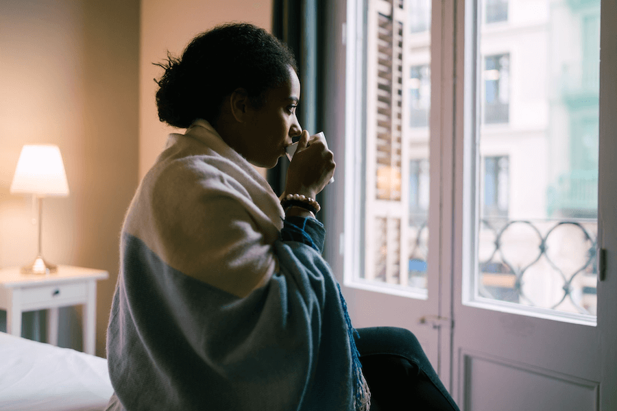 woman drinking coffee practicing mindfulness