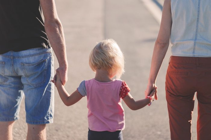 toddler walking with mother and father mindfulness activities