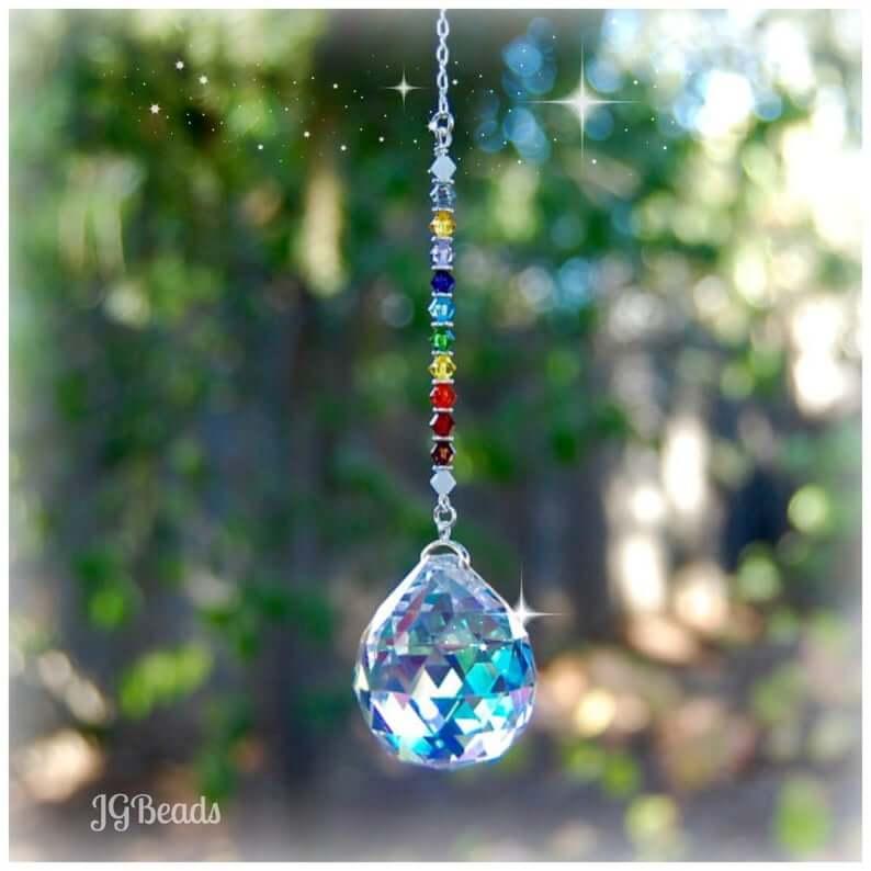 Chakra crystal suncatcher